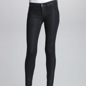 J Brand Super Skinny Coated Jeans Steal Black 28